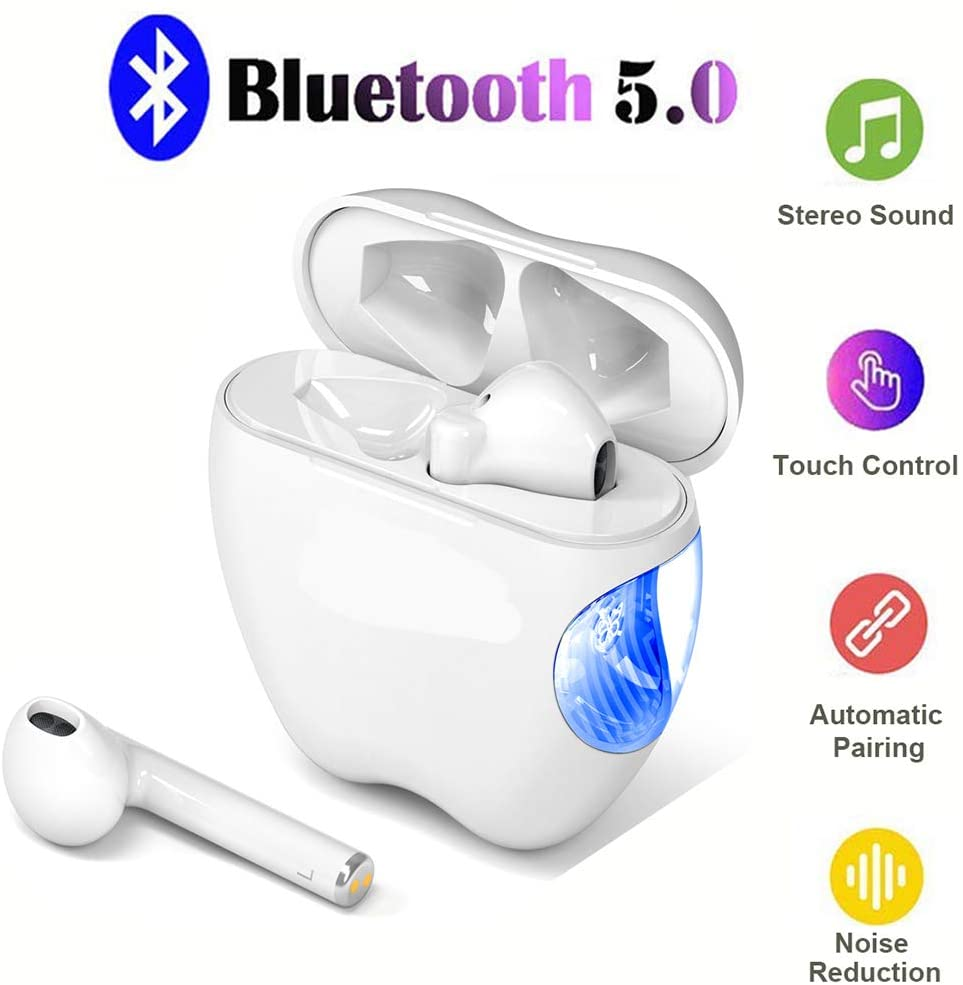 True Wireless Bluetooth Headphones with Microphone Auto-Pairing Bluetooth Earbuds with Charging Case HiFi Stereo Headset Noise Cancelling Sports Earphones for Running